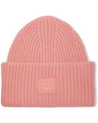 Acne Studios Pansy Face Beanie Aus Gerippter Wolle Mit Applikation - Pink