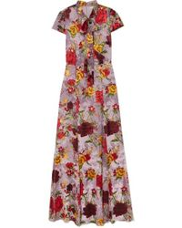 Alice + Olivia - Roanne Floral-print Devoré-chiffon Maxi Dress - Lyst