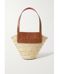 Christian Louboutin Loubishore Small Woven Straw And Embossed Leather Tote - Natural