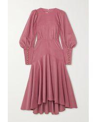Anna Mason Eliza Gathered Silk-corduroy Midi Dress - Purple