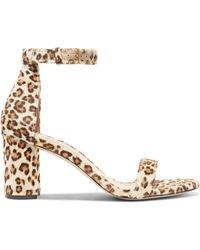 Stuart Weitzman - Less Nudist Leopard-print Calf Hair Sandals - Lyst