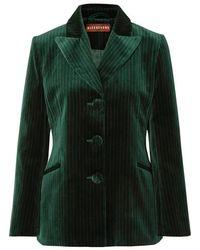 ALEXACHUNG - Metallic Pinstriped Cotton-velvet Blazer - Lyst