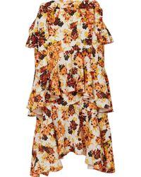 Ellery | Saloon Ruffled Floral-print Crepe Midi Skirt | Lyst