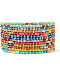 Roxanne Assoulin Patchwork Set Aus 12 Armbändern Mit Emaille Und Goldfarbenen Details - Pink