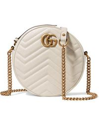 Gucci Gg Marmont Circle Quilted Leather Shoulder Bag - White