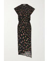 Paco Rabanne Asymmetric Gathered Floral-print Stretch-jersey Midi Dress - Black