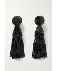 Oscar de la Renta Beaded Clip Earrings - Black