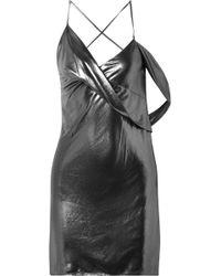 Michelle Mason - Backless Draped Lamé Mini Dress - Lyst
