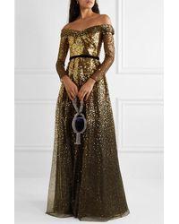 Marchesa notte Off-the-shoulder Velvet-trimmed Ombré Sequined Tulle Gown - Black