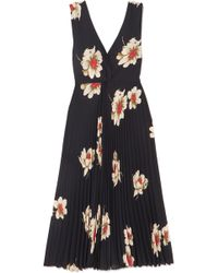Vince - Pleated Floral-print Crepe Midi Dress - Lyst