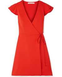 Alice + Olivia - Doralee Crepe Wrap Dress - Lyst