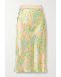 ATM Printed Silk-charmeuse Skirt - Green