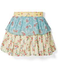 LoveShackFancy - Ruffled Floral Mini Skirt - Lyst