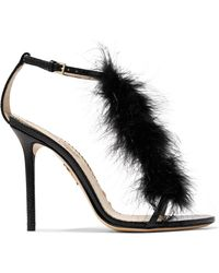 Charlotte Olympia - Provocateur Feather-trimmed Snake Sandals - Lyst
