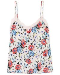 Veronica Beard Gil Lace-trimmed Floral-print Silk-twill Camisole - Pink