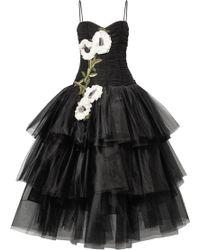 Marchesa - Appliquéd Embellished Velvet-trimmed Tulle Gown - Lyst