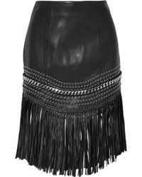 Balmain - Fringed Embellished Leather Mini Skirt - Lyst