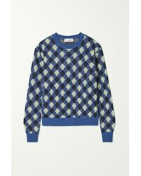 Wales Bonner Williams Argyle Merino Wool-blend Sweater - Blue