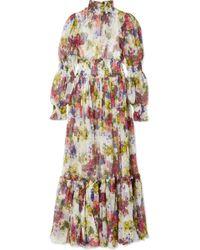 Dolce & Gabbana - Smocked Floral-print Silk-chiffon Maxi Dress - Lyst
