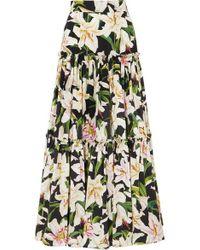 Dolce & Gabbana Jupe Longue En Popeline De Coton À Imprimé Fleuri - Noir