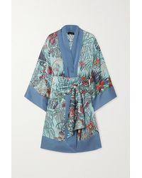 Carine Gilson Kimono En Satin De Soie À Imprimé Fleuri Et À Ceinture - Bleu