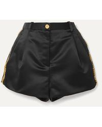 Versace Crystal-embellished Embroidered Duchesse-satin Shorts - Black
