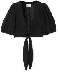 Lisa Marie Fernandez - Pouf Cropped Tie-front Linen-blend Gauze Top - Lyst