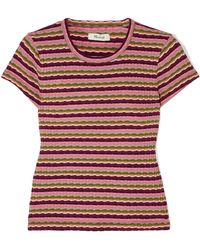 Madewell - Aanisa Striped Ribbed Cotton-blend Top - Lyst
