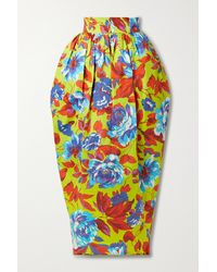 Christopher John Rogers Pleated Floral-print Cotton-twill Maxi Skirt - Yellow