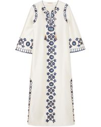 Tory Burch - Ariana Embellished Silk And Cotton-blend Maxi Dress - Lyst