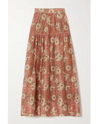 Ulla Johnson Idalia Floral-print Cotton And Silk-blend Midi Skirt - Brown