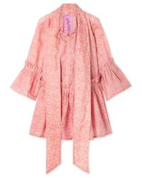 Yvonne S Angelica Ruffled Floral-print Linen Tunic - Pink