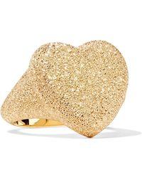 Carolina Bucci - 18k Yellow Gold Heart Florentine Finish Ring - Lyst