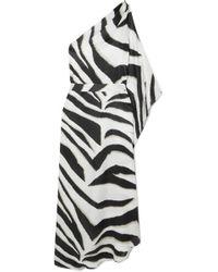 Melissa Odabash - Lauren One-shoulder Zebra-print Charmeuse Kaftan - Lyst
