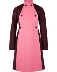 Valentino - Two-tone Double-breasted Wool And Cashmere-blend Felt Coat - Lyst