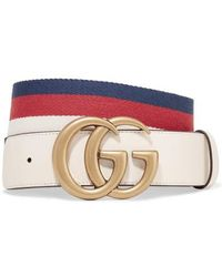 Gucci Striped Canvas And Leather Belt - White