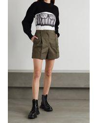 Alexander McQueen Pleated Cotton-drill Shorts - Green