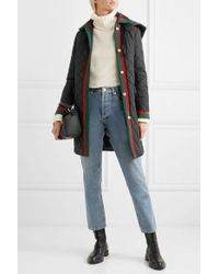 Gucci Hooded Grosgrain-trimmed Quilted Shell Coat - Black