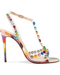 Christian Louboutin - Faridaravie 100 Studded Checked Leather Sandals - Lyst