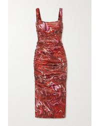 Maisie Wilen Lady Miss Ruched Printed Shell Midi Dress - Red