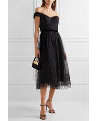 Marchesa notte Off-the-shoulder Glittered Tulle Gown - Black