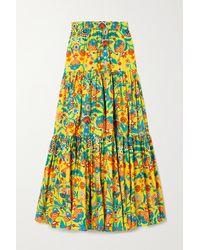 La DoubleJ Printed Tiered Cotton-poplin Maxi Skirt - Yellow