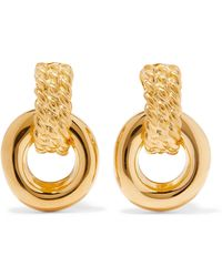 Kenneth Jay Lane - Polished Gold-tone Clip Earrings Gold One Size - Lyst