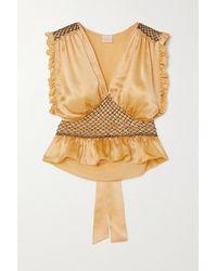 Loretta Caponi Valeria Cropped Bow-detailed Ruffled Smocked Silk-satin Top - Metallic