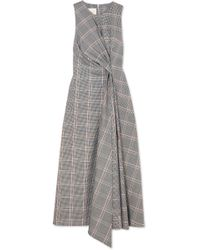 Cedric Charlier - Twisted Prince Of Wales Checked Wool-blend Midi Dress - Lyst