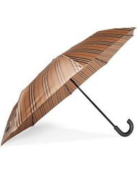 Burberry Leather-trimmed Striped Shell Umbrella - Natural