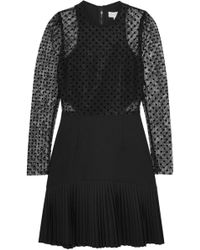Rebecca Vallance - Gabriella Flocked Lace And Crepe Mini Dress - Lyst