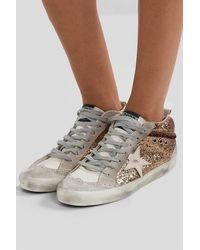 Golden Goose Deluxe Brand Mid Star Sneakers Aus Glitter-leder Und Veloursleder In Distressed-optik - Mettallic