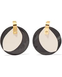 Marni - Gold-tone, Horn And Leather Earrings - Lyst