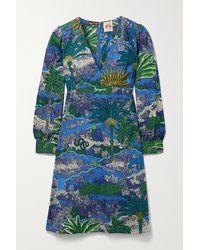 Le Sirenuse Agea Kleid Aus Bedruckter Baumwollpopeline - Blau